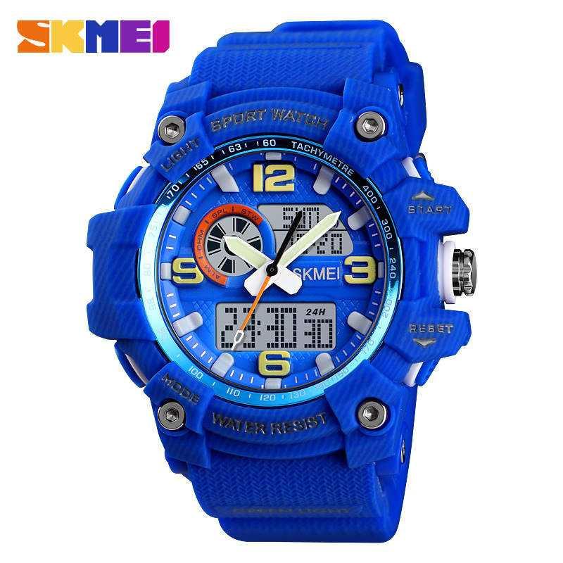 Jam Tangan Pria SKMEI Dual Time Men Sport LED Original AD1436 Biru