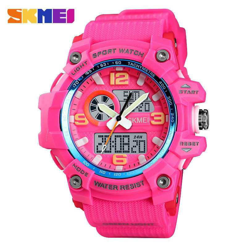 Jam Tangan Pria SKMEI Dual Time Men Sport LED Original AD1436 Rose