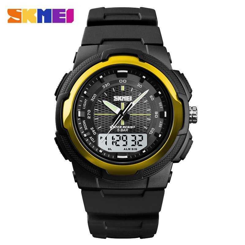 Jam Tangan Pria SKMEI Dual Time Men Sport LED Original AD1454 Gold