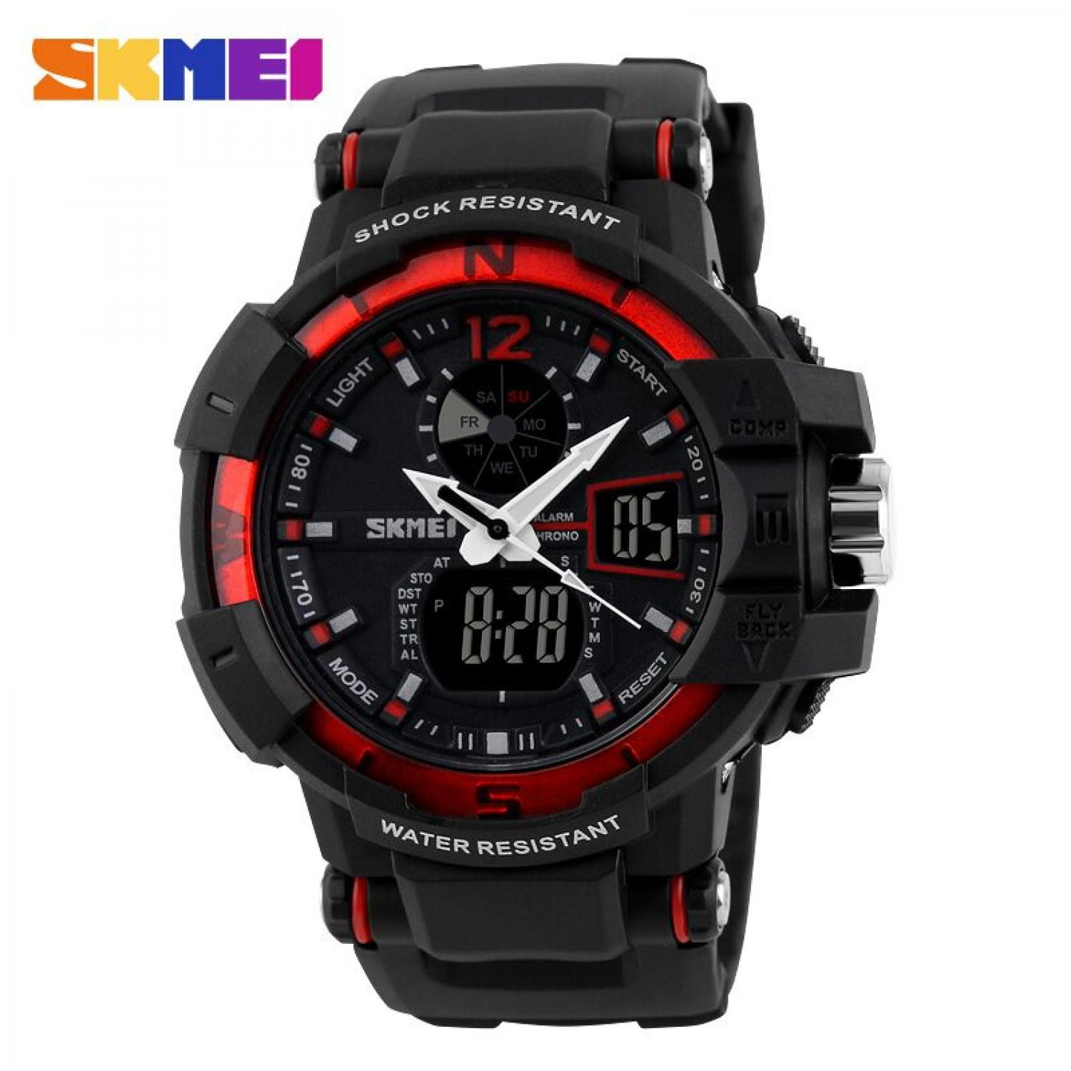 Jam Tangan Pria SKMEI Dual Time Military Men Original AD1040 Merah