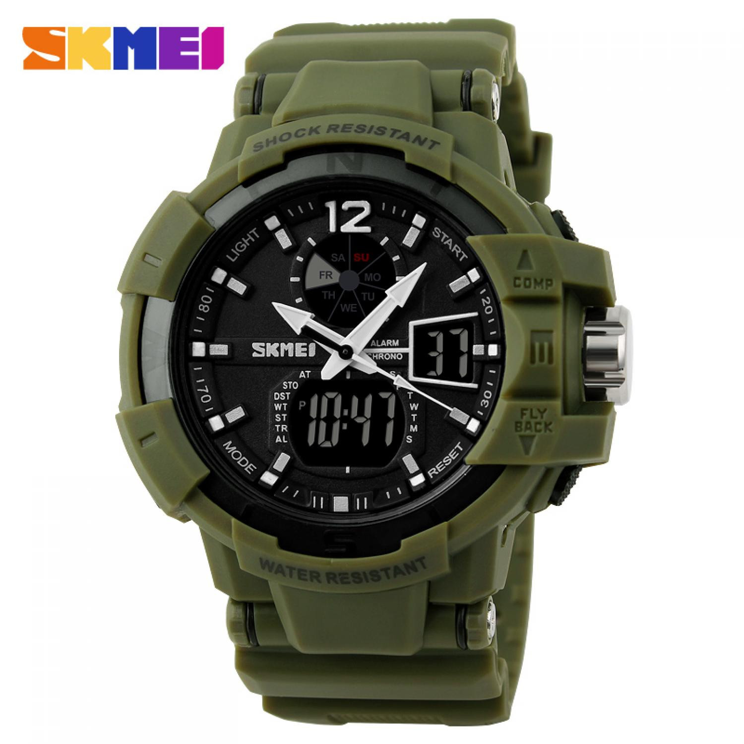 Jam Tangan Pria SKMEI Dual Time Military Men Original AD1040 Army