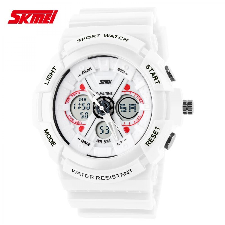 Jam Tangan Pria SKMEI Dual Time S-Shock Men Sport Original AD0966 Putih