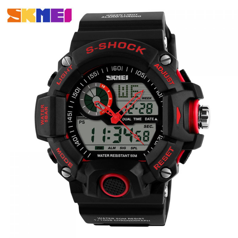 Jam Tangan Pria SKMEI Dual Time S-Shock Men Sport Original AD1029 Merah