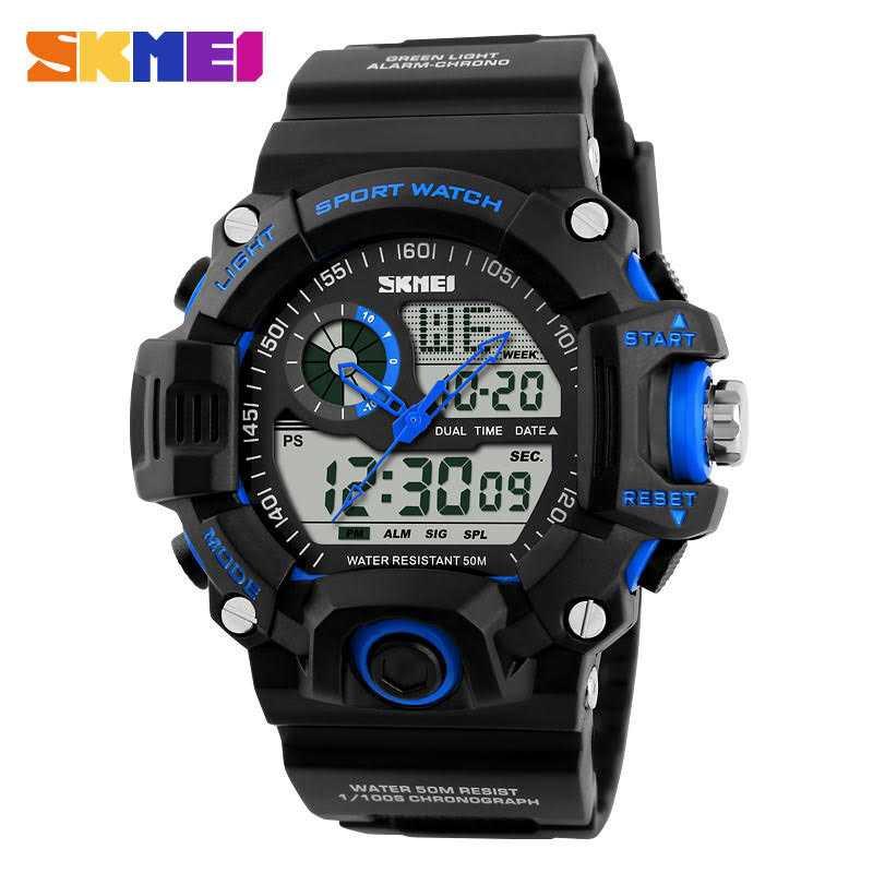 Jam Tangan Pria SKMEI Dual Time S-Shock Men Sport Original AD1029 Biru