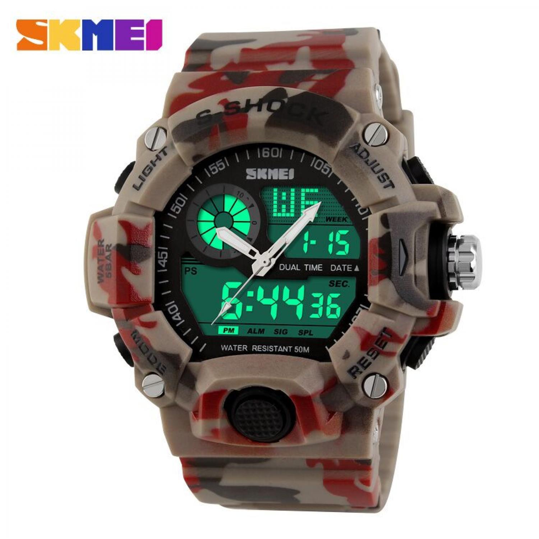 Jam Tangan Pria SKMEI Dual Time S-Shock Men Sport Original AD1029 Camouflage