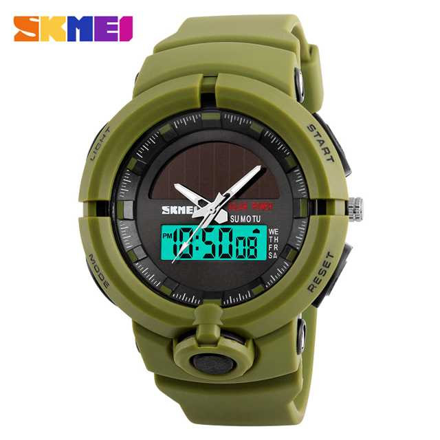 Jam Tangan Pria SKMEI Dual Time Solar Power Original 1275 Army