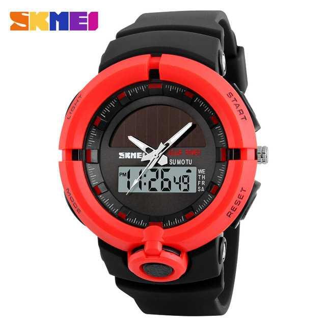 Jam Tangan Pria SKMEI Dual Time Solar Power Original 1275 Merah