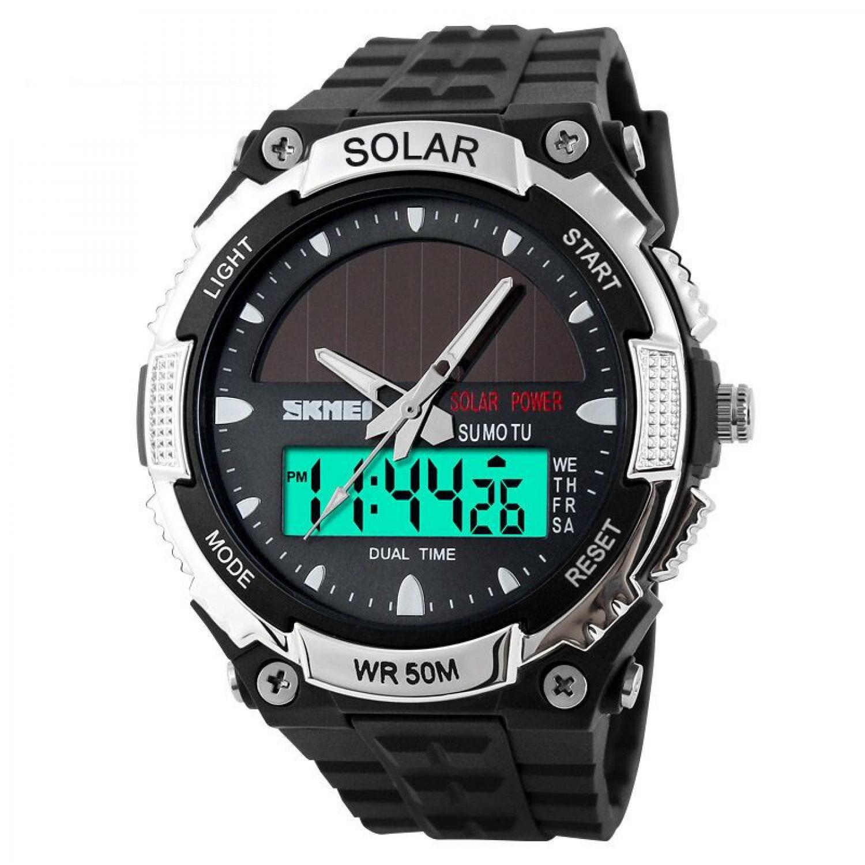 Jam Tangan Pria SKMEI Dual Time Solar Power Original AD1049E