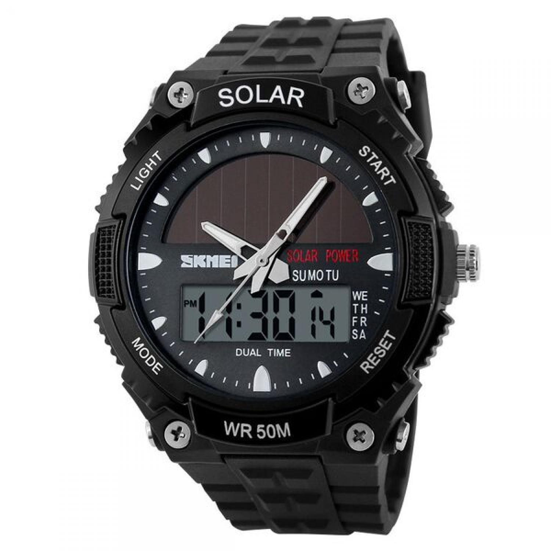 Jam Tangan Pria SKMEI Dual Time Solar Power Original AD1049E Hitam