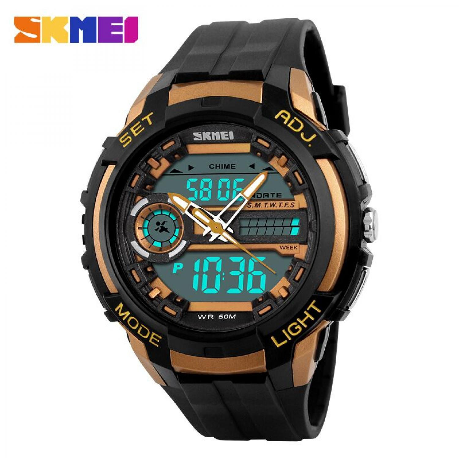 Jam Tangan Pria SKMEI Dual Time Sport Men LED Original AD1202 Gold