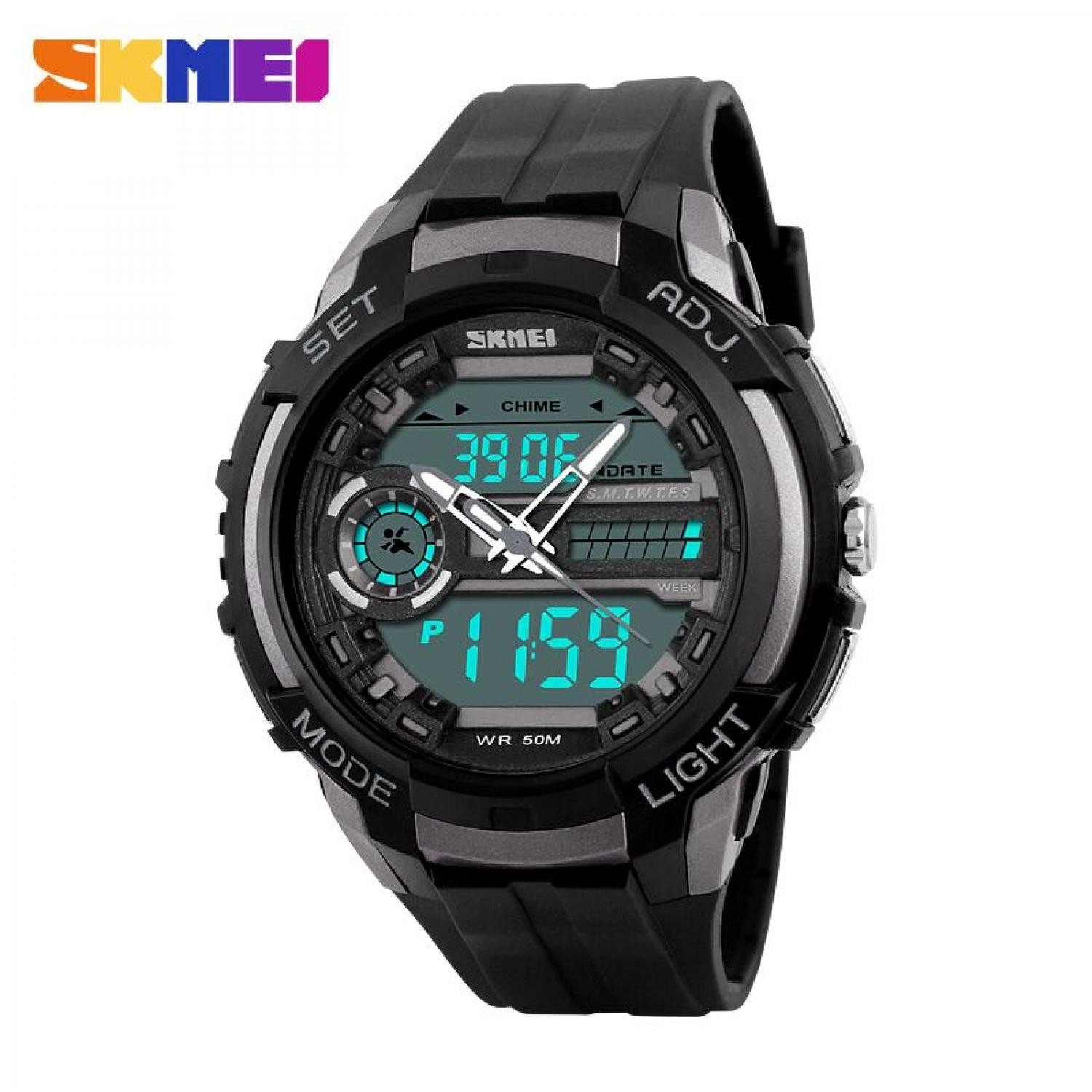 Jam Tangan Pria SKMEI Dual Time Sport Men LED Original AD1202