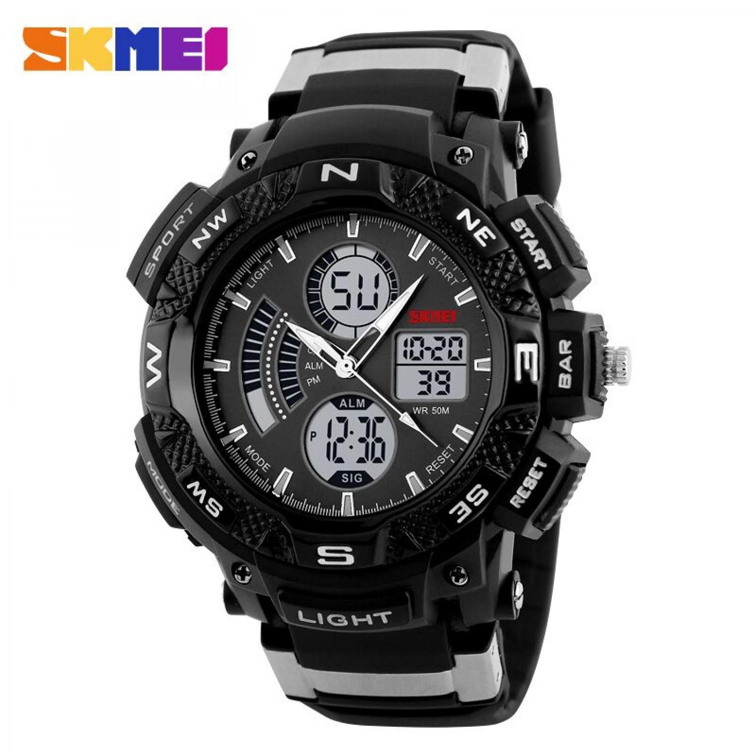 Jam Tangan Pria SKMEI Dual Time Sport Men LED Original AD1211