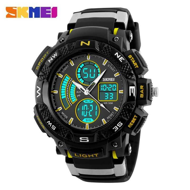 Jam Tangan Pria SKMEI Dual Time Sport Men LED Original AD1211 Kuning