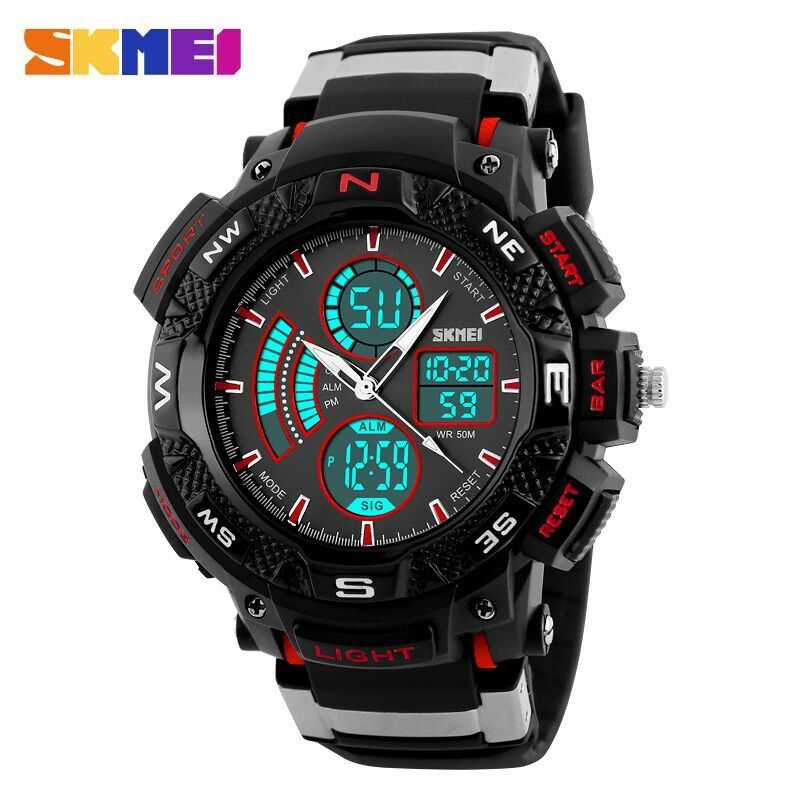 Jam Tangan Pria SKMEI Dual Time Sport Men LED Original AD1211 Merah