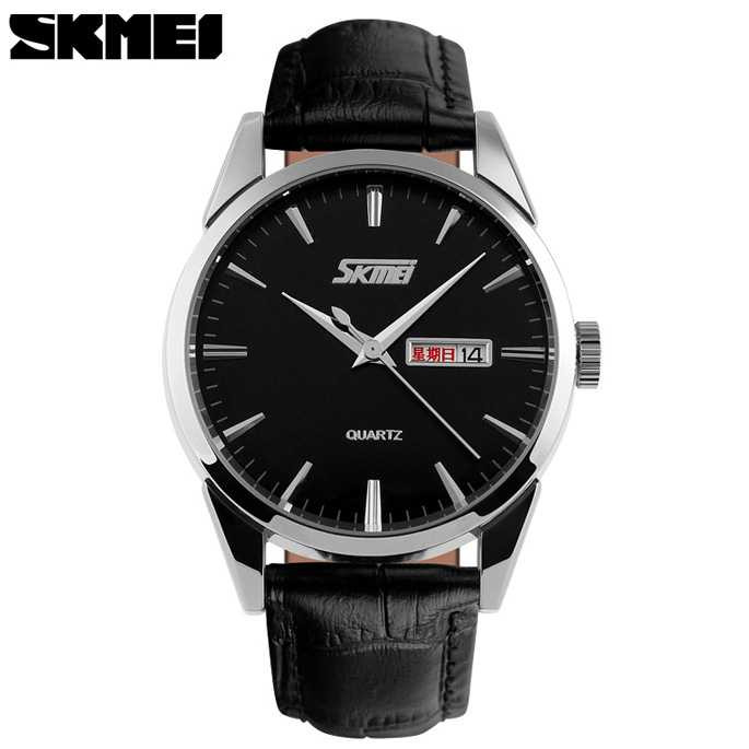 Jam Tangan Pria SKMEI Original Analog Casual Leather Strap 9073CL