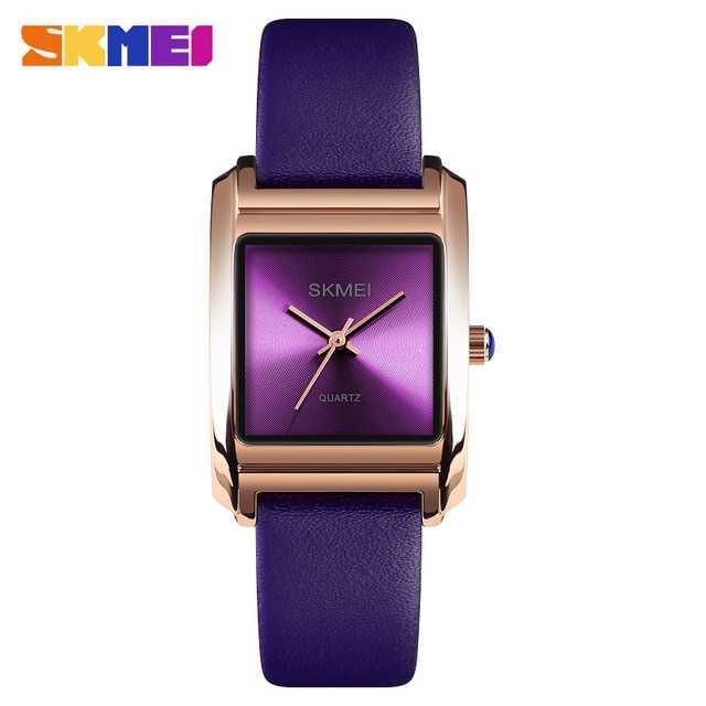 Jam Tangan Wanita SKMEI Analog Casual Leather Watch Original 1432CL Ungu