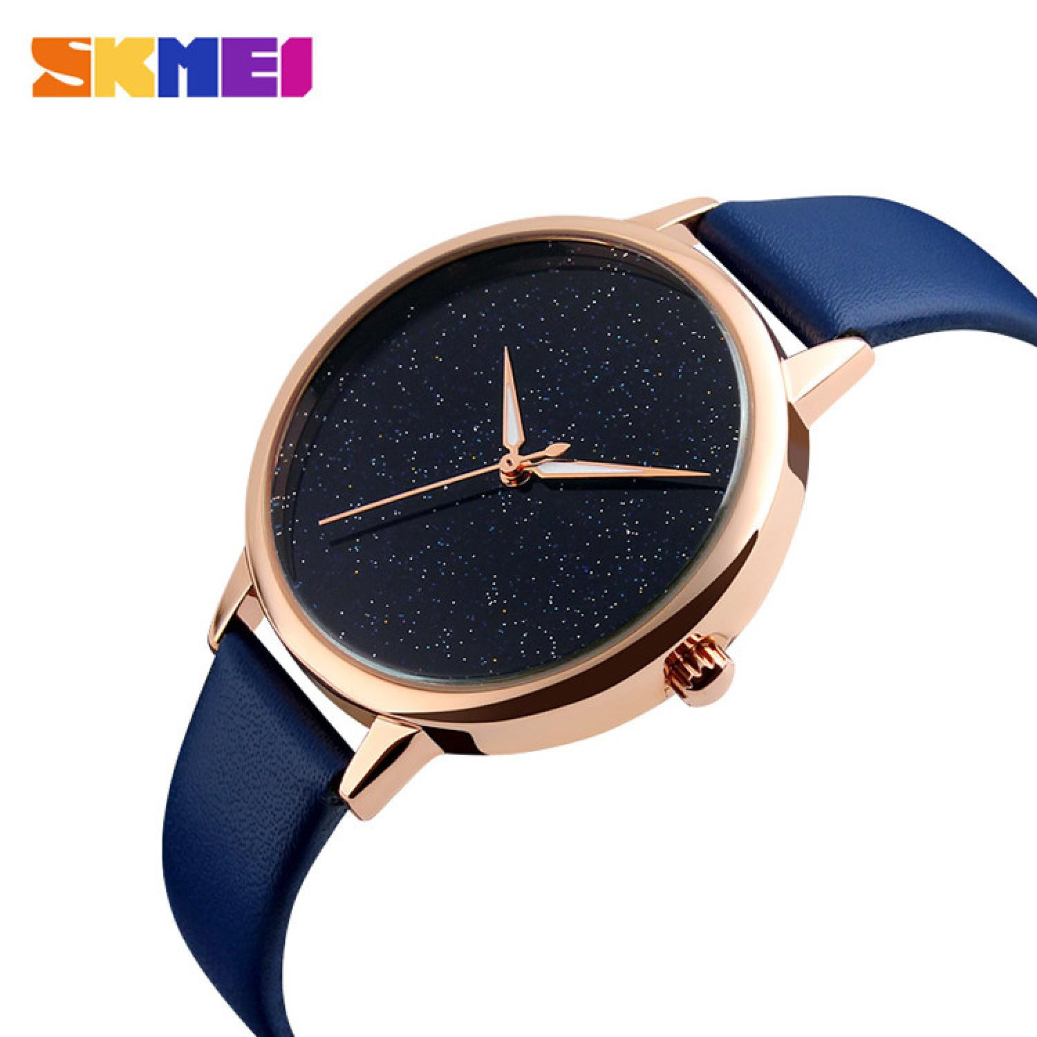 Jam Tangan Wanita SKMEI Analog Casual Leather Watch Original 9141CL Biru