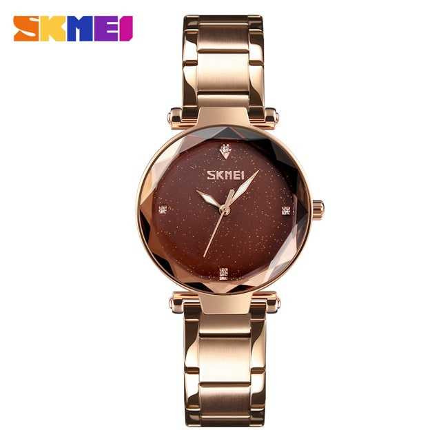 Jam Tangan Wanita SKMEI Casio Women Fashion Original 9180CS Gold