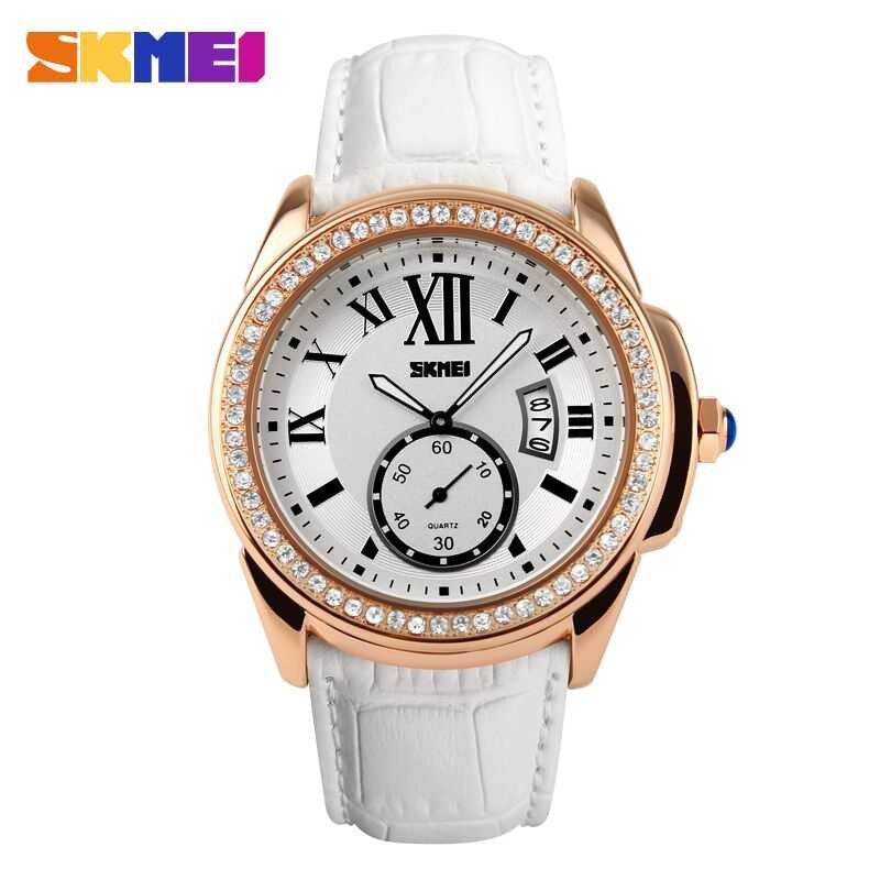 Jam Tangan Wanita SKMEI Casual Ladies Leather Strap Original 1147CL Putih