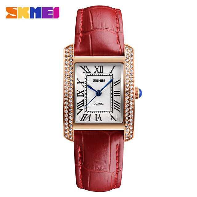 Jam Tangan Wanita SKMEI Casual Ladies Leather Strap Original 1281CL Merah