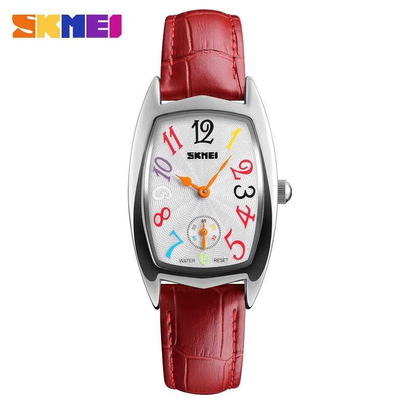 Jam Tangan Wanita SKMEI Casual Ladies Leather Strap Original 1323CL Merah Silver