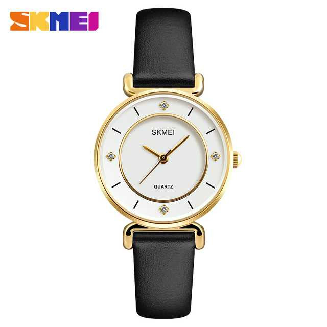 Jam Tangan Wanita SKMEI Casual Ladies Leather Strap Original 1330 Gold