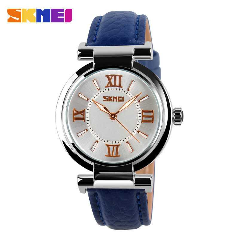 Jam Tangan Wanita SKMEI Casual Ladies Leather Strap Original 9075CL Biru