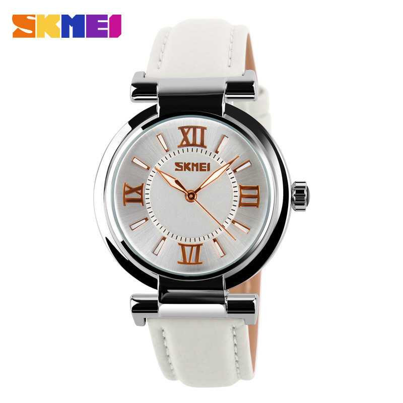 Jam Tangan Wanita SKMEI Casual Ladies Leather Strap Original 9075CL Putih