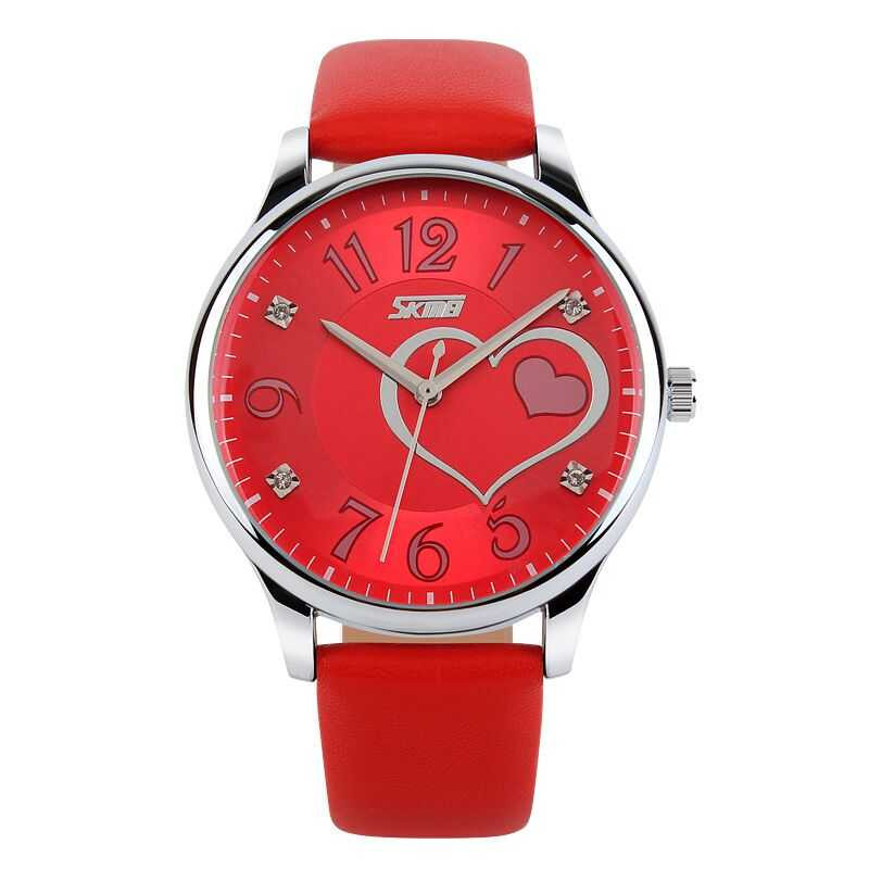 Jam Tangan Wanita SKMEI Casual Ladies Leather Strap Original 9085CL Merah