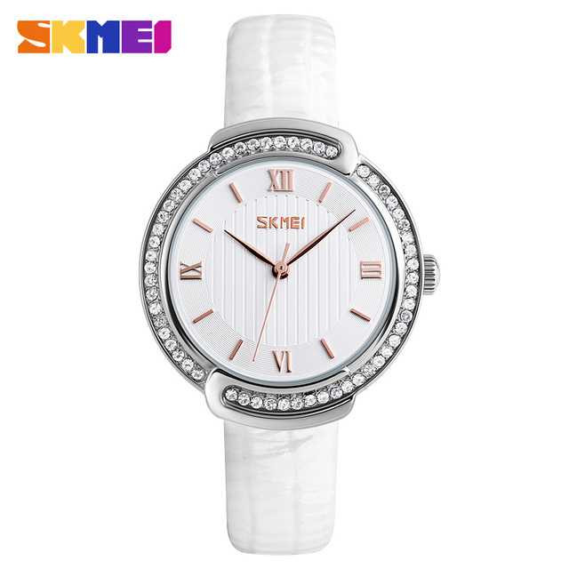 Jam Tangan Wanita SKMEI Casual Ladies Leather Strap Original 9143 Putih