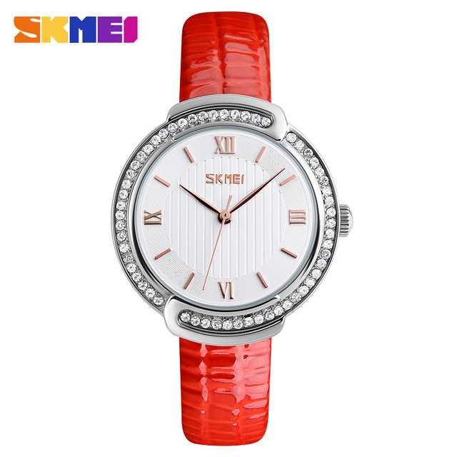 Jam Tangan Wanita SKMEI Casual Ladies Leather Strap Original 9143 Orange