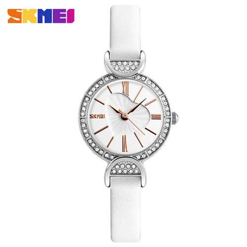 Jam Tangan Wanita SKMEI Casual Ladies Leather Strap Original 9146 Putih