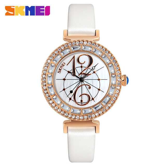 Jam Tangan Wanita SKMEI Casual Ladies Leather Strap Original 9158 Putih