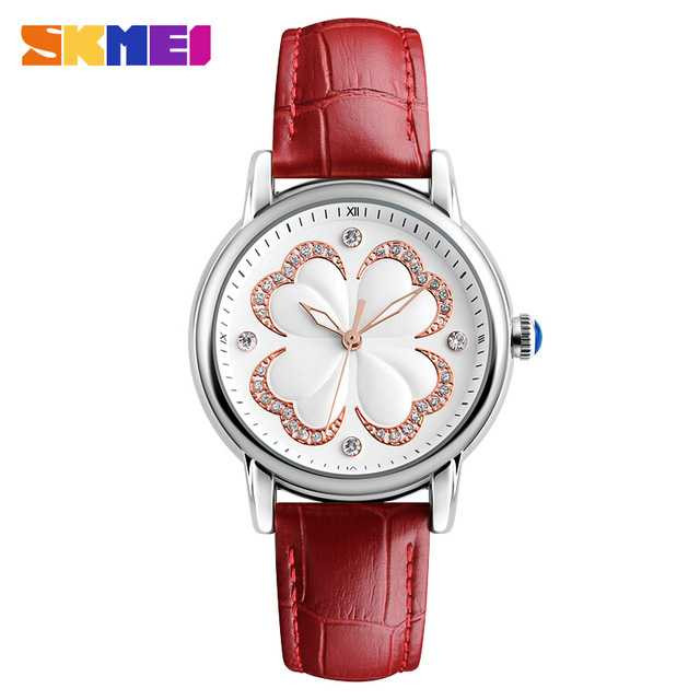 Jam Tangan Wanita SKMEI Casual Ladies Leather Strap Original 9159 Merah