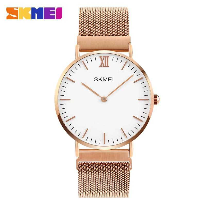 Jam Tangan Wanita SKMEI Casual Ladies Stainless Strap Original 1319CS Gold