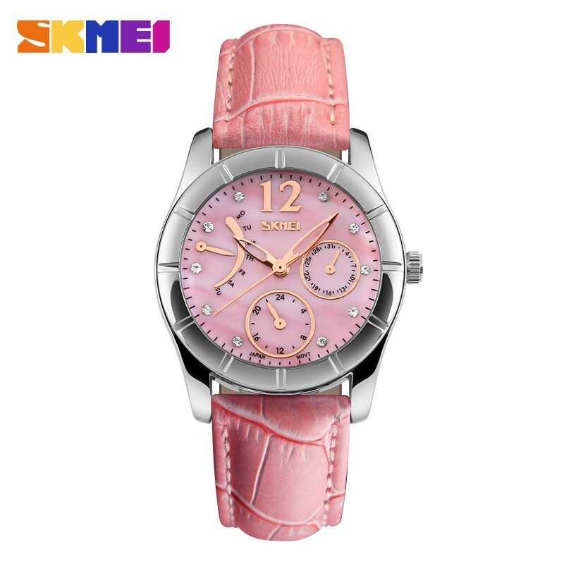 Jam Tangan Wanita SKMEI Casual Women Leather Strap Original 6911CL Pink