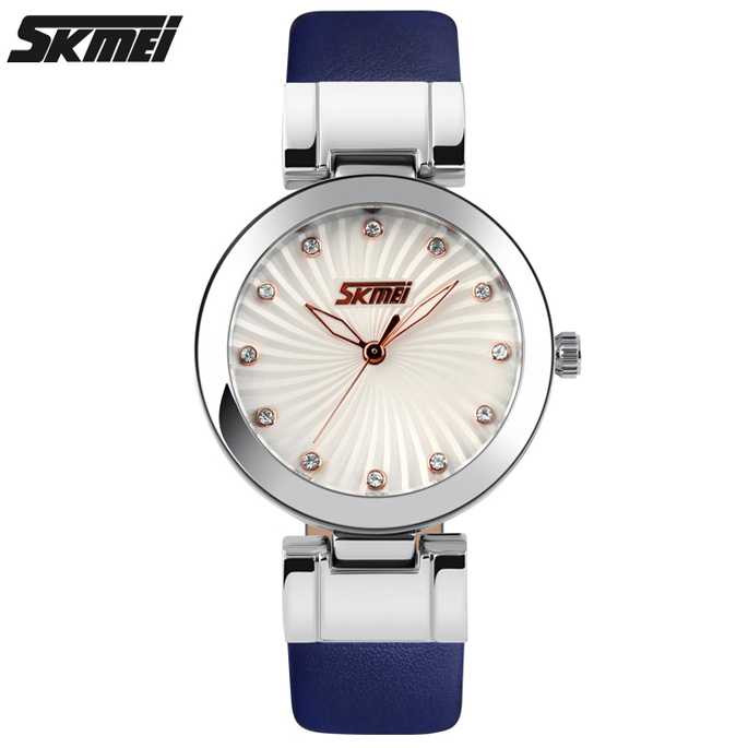 Jam Tangan Wanita SKMEI Casual Women Leather Strap Original 9086CL Biru