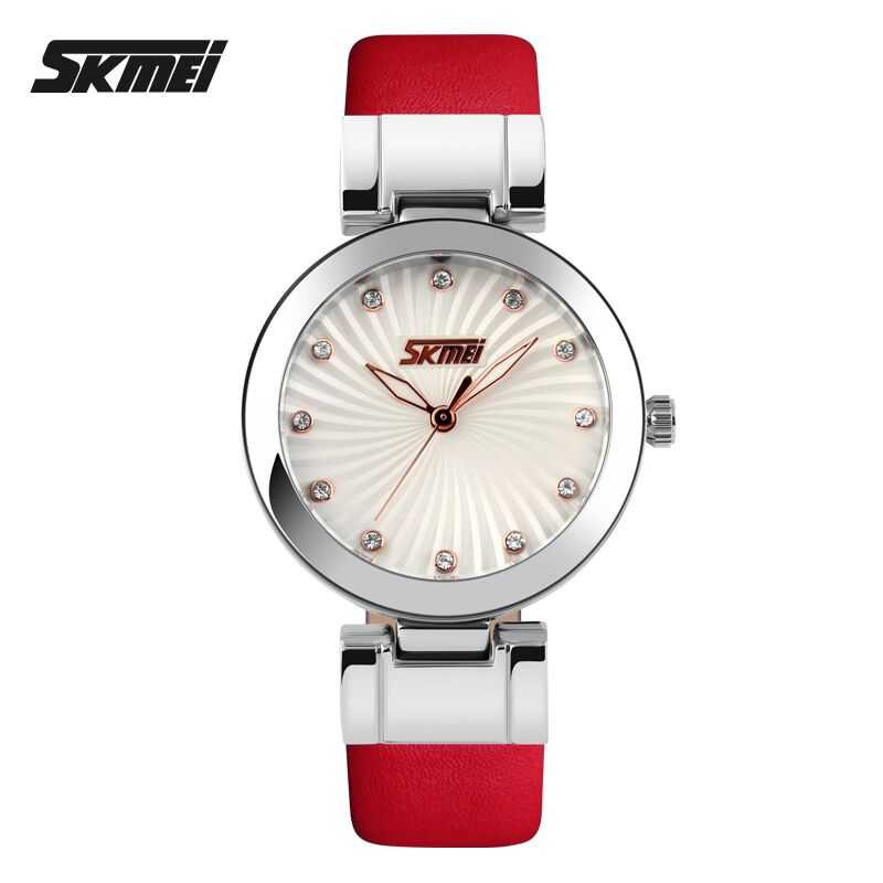 Jam Tangan Wanita SKMEI Casual Women Leather Strap Original 9086CL Merah