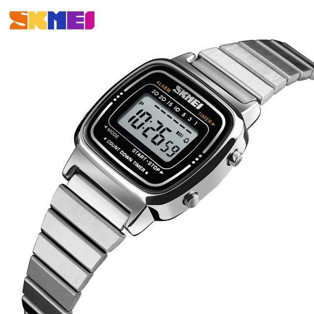 Jam Tangan Wanita SKMEI Digital Casio Sport Original 1252 Silver