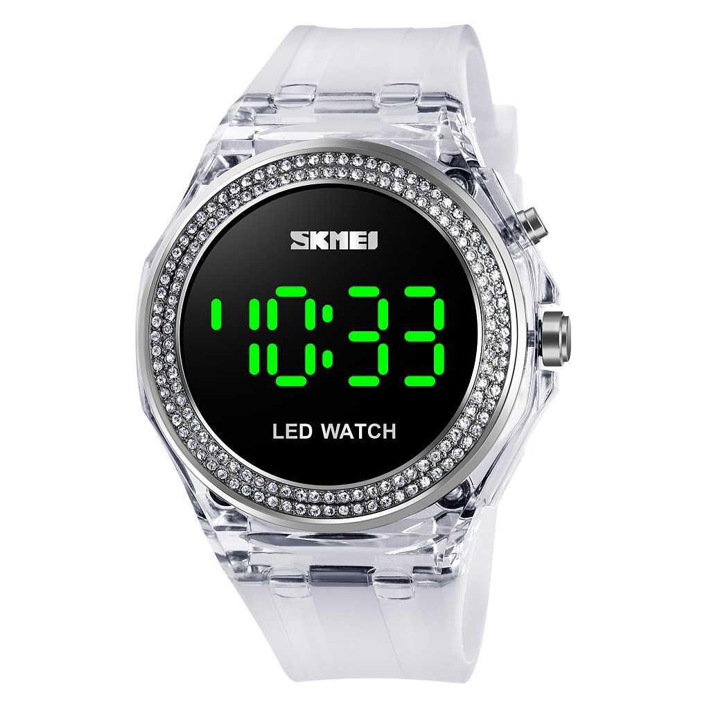 Jam Tangan Wanita SKMEI Digital Casual LED Original DG1597 Putih